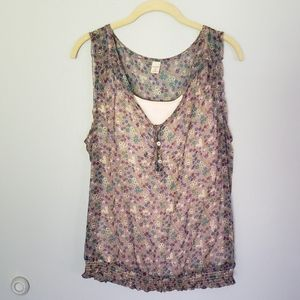 Flower Sheer Tank top